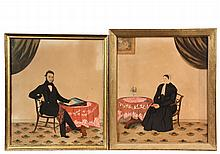 PAIR OF FOLK ART WATERCOLORS - Portrait of a Husband and Wife, seated at the same table with drape and carpet in each image, he is writing a letter headed