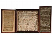 (3) EARLY NEEDLEPOINT SAMPLERS - Late 18th to Early 19th c. Stitchwork on linen, all framed, including: An Alphabet with ivy border in green and browns on a cream field, marked