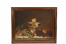 AMERICAN STILL LIFE - Mid 19th c. Naive Still Life of Cake on a Stand with fruit and wine, oil on canvas, illegibly signed lower left, in later mahogany panel frame with black lacquer and gilt trim, OS: 25