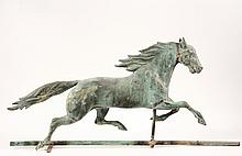 WEATHERVANE - Ethan Allen Full-Body Running Horse in molded copper with remnants of gilding, late 19th c, attributed to J.W. Fiske, with tab added to the original lower rail to make it freestanding. From the Harry Jac...