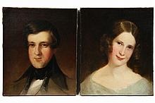PAIR OIL ON CANVAS - Bust Portraits of Young Man and Woman, unsigned but with vintage labels verso reading 'Portrait of George Washington Pearson (1818-1895) was painted about 1839 probably at the Maverick House, East..