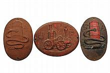 (3) VINTAGE FIRE MARKS - Early 19th c. Philadelphia Fire Insurance Company Cast Iron Plaques, including two F&A Hose Co, founded in 1817, chartered in 1820, the same mark is on Independence Hall; PLUS a United Fireman...