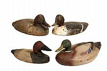 (4) DUCK DECOYS - Early 20th c. Flat Body Mallard Working Decoys, in painted wood, by different makers, one marked