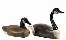 (2) EARLY GEESE DECOYS - Early 20th c. Canada Geese Decoys, one working, one for display, in painted wood, unmarked. Roughly 22