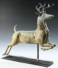 STAG WEATHERVANE - Stag Weathervane figure with remnants of the original gilt surface, possibly by Washburn, 27 1/2