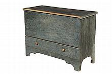 COLONIAL BLANKET CHEST - Maine Dumpcart Blue Chest in pine, original paint, scraped, single plank lift lid with lapped ends, leading chamfered edge in pale green paint, single plank front above full-width drawer with ...