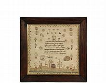 ENGLISH REGENCY SAMPLER - Poem and Landscape Sampler by Agnes Rook, aged 11, dated 1816, silk on fine linen, featuring flowers, birds, deer, dogs, a large sheep, shepherd with flock, house, windmill and what may be a ...
