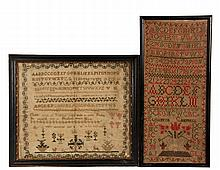 (2) ALPHABET SAMPLERS - Both Early 19th c, including: Mary Batchelor, 1817, in her ninth year (note verso indicates of Hampton, New Hampshire, and so related to Daniel Webster & John Greenleaf Whittier), silk on fine ...