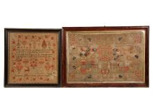 (2) PICTORIAL SAMPLERS - Both English, wool on coarse linen, including: