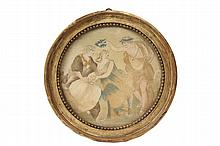 NEEDLEWORK - 18th c. French Silk Flamestitch on Silk with Watercolor of Apollo Gracing Two Lovers, in the original round gold molded frame, with 19th c. Paris dealers stamps on back, under glass, OS: 13 1/4