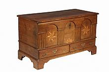 RARE REVOLUTIONARY WAR DATED DOWRY CHEST - Pennsylvania Two-Drawer Walnut Chippendale Dowry Chest, dated 1776, with overhanging molded lid, mixed wood star and fan inlays, date and initials
