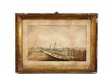 RARE EARLY DEPICTION OF US CAPITOL BUILDING - Watercolor on paper. Long View of the Edifice surrounded