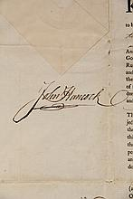 TWO EARLY COMMONWEALTH OF MASSACHUSETTS DOCUMENTS, JOHN HANCOCK & SAMUEL ADAMS AUTOGRAPHS - Both Appointments of Moses Davis of Edgecomb, Lincoln County (now Maine) as Justice of the Peace