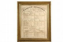 IMPORTANT MAINE HERITAGE FAMILY REGISTER - Original Calligraphy Family Register of Samuel Tarbox of Westport, Maine, whose home, now the