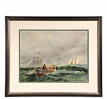 JACK LORIMER GRAY (NY/Canada, 1927-1981) - Two Schooners Passing a Doryman in High Open Seas, watercolor on paper, signed lower right, in black and gold molded frame, matted and glazed