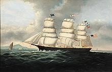SHIP'S PORTRAIT - American Three-Mast Sailing Ship, likely the