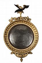 BULL'S-EYE LOOKING GLASS - American Federal Gilt and Ebonized Looking Glass