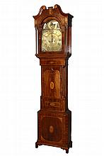 ENGLISH TALL CASE CLOCK - Mahogany Inlaid Case Eight Day Time and Strike Clock by Bradley of Ilkeston, circa 1770-1780, brass works, having a broken pediment bonnet with inlaid rosettes and floral urns, fluted columns...