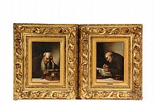 CARL SCHLEICHER (AUSTRIA, 1825-1903) - Pair Oil on Chamfered Mahogany Panels, portraits of monks reading and writing, signed ur 'Schleicher', in nice vintage gilt deep relief gesso frames, with name plates, SS: 9 1/2