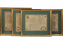 (4) EARLY MAPS OF EUROPE - All handcolored copperplate engravings, by Johannes Janssonius, (Amsterdam, 1588-1644), including