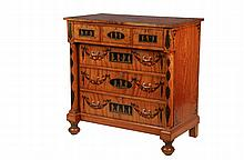 PAINT DECORATED CHEST - Classical Period Dresser in figured maple and birch with ebony stringing, having overhanging top painted with peacock feather border, central leaf and berry cartouche; the upper cabinet contain...