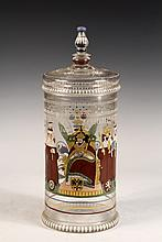 GERMAN BEERHUMPEN - Bohemian Glass Commemorative Covered Beaker, late 18th c, with enameled decoration depicting the Kings of seven City States flanking the Holy Roman Emperor Matthias, King of Germany, each captioned...