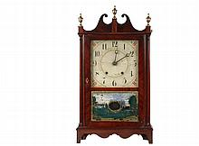 ELI TERRY BRACKET CLOCK - Pillar and Scroll Mahogany Case Clock with original weight driven 30-hr wooden time and strike movement, painted wood dial, eglomise lower tablet depicting Mount Vernon, with the original pap...