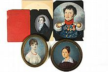 (4) MINIATURE PORTRAITS - Including W/C on Ivory Portrait of a Lovely Red-Headed Woman, ca 1815, probably American, she is in a white gown, wearing a coral bead necklace, in vintage brass frame with domed glass, SS: 2...