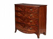 BOWFRONT DRESSER - Hepplewhite Period Dresser, in figural mahogany, having a top with double-beaded edge, two over three graduated beaded edge drawers with later batwing brass pulls, with simple shaped skirt on splaye...