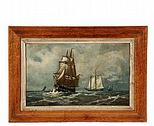 THOMAS CLARKSON OLIVER (MA, 1827-1893); American Warship Under Sail, Schooners Aft, oil on academy board, signed lower right