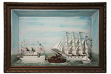 SHIP DIORAMA - Circa 1905 Diorama of Four Ships and Boats passing each other, including White Hulled Four Mast Ship 'Francis', White Hulled Two Stack Coastal Steamer 'Otto'; Steam Launch 'Ida' and Sloop 'Daisie',