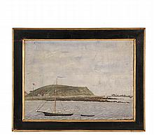 NAIVE MARINE PAINTING - View of Great Brewster Island from the West, Boston Harbor, circa the Civil War, with multiple structures and two American flags, schooner and dingy moored in foreground, initialed