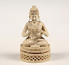 THAI FIGURE OF BUDDHA - Buddha in Dharmachakra Mudra, seated on integral reticulated lotus throne, Amarapura period (1789-1853). 4 3/4