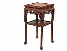 CHINESE STAND - Early Chinese Huanghuali Wood Tall Stand, 19th c, square form with figured and mottled rouge stone top insert, finely detailed carved frieze with inset shelf beneath, raised on four legs ending in claw...