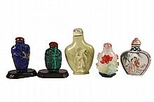 (5) ORIENTAL SNUFF BOTTLES - All late 19th to early 20th c, including: Lapis carved with birds, stand, 2