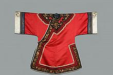 CHINESE COURT ROBE - Man's Mandarin Summer Robe, Late Qing, ca 1900, in crimson silk satin with black trim having gold bullion work, standing blue and gold inside collar, integral cowl collar, white floral band, rabbi..