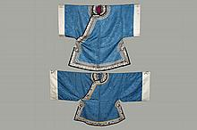 (2) CHINESE ROBES - Similar Man's & Woman's Robes, mid-Republic, circa 1920, in sky blue silk damask of the same color but different pattern, having similar white polychrome embroidered figural collar and lingxhi vent.
