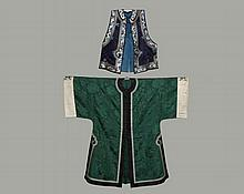 CHINESE JACKET AND VEST - Man's Jacket, early Republic, circa 1920-30, including Jacket in forest green blossom pattern damask, having black banded center front opening with brass buttons, lingxhi side vents, all with..