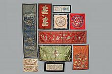 (10 PCS) CHINESE SILKWORK - Early 20th c