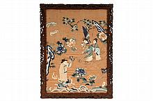 FRAMED CHINESE SILK - Embroidered Silk Copper Colored Panel under glass, in reticulated hardwood landscape frame, depicting man atop dragon on water, offering flowers to wife who holds child and is being fanned by a s...