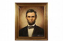 D.R. ELWOOD - Bust Portrait of President Abraham Lincoln, oil on canvas, signed lower right and dated '56. In gold molded frame. OS: 36 1/2