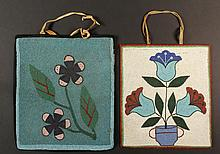 (2) NATIVE AMERICAN BEADED BAGS - Large Plateau Bags, circa 1900-1920, two-sided, with cloth backs and leather thong handles