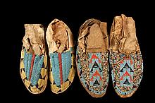 (2) PAIR OF BEADED NATIVE AMERICAN MOCCASINS - Early 20th c. Sioux Beadwork, on deer hide, from the possessions of Chief John Bear McGinnis of the Pine Ridge Reservation. About 9