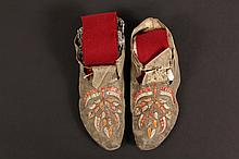 NATIVE AMERICAN MOCCASINS - Early Quill Decorated Pair of Sioux Deerhide Moccasins, having a tree pattern in white, red and orange, circa 1860-1880. 11