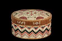 NATIVE AMERICAN BOX - Mic-Mac Oval Birch Bark Box, Ottawa, with red, black, tan and green decoration, circa 1840s