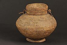 NATIVE AMERICAN BASKETRY - Nez Perce Woven Grass and Willow Reed Covered Water Carrier, mid 19th c, in beautiful ovoid form with shallow tapered foot, two loop hangers, fitted cylindrical lid over standing collar, hav...