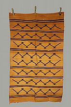 - NATIVE AMERICAN WEAVING - Navajo Wearing Blanket, circa 1890, in ochre with dark brown stripes and zig-zags, 70 1/2