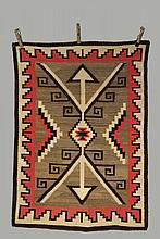 NATIVE AMERICAN RUG - Navajo Storm Pattern Rug in tan, brown and red, vegetable dyes, circa 1920, stepped border, double arrow center, 41 1/2