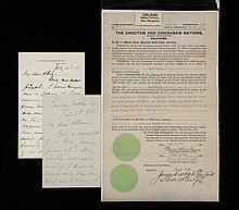 VERY RARE INDIAN TERRITORY SLAVE DOCUMENT & (2) LAWTON LETTERS - Choctaw and Chicksaw Nations, Oklahoma, Land Grant for 60 acres, to 'freedman' Maud Smith, dated May 14th, 1908, signed by Green M
