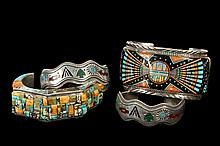 NATIVE AMERICAN BRACELETS - Group of (4) Native American Silver Cuff Bracelets, all set with stones